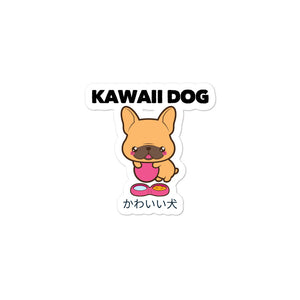 Kawaii Dog Frenchie on Bubble-free stickers, Frenchie Stickers