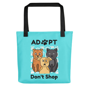 Adopt, Don't Shop, Tote Bags - Blue