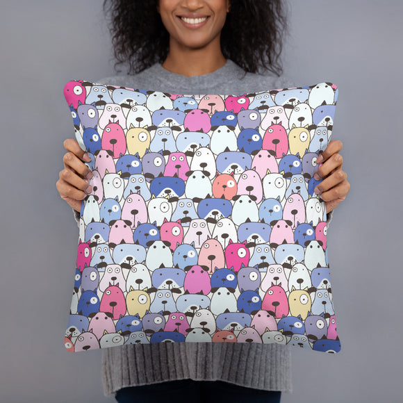 Crazy Dogs Purple Premium Pillow