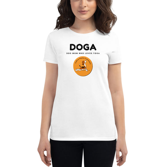 DOGA Dog Mom Who Loves Yoga Women's short sleeve t-shirt, White
