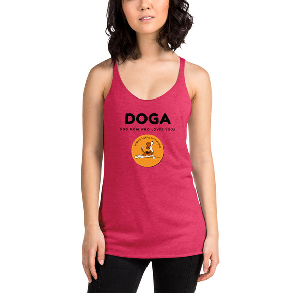 DOGA Dog Mom Who Loves Yoga Women's Racerback Tank, Red