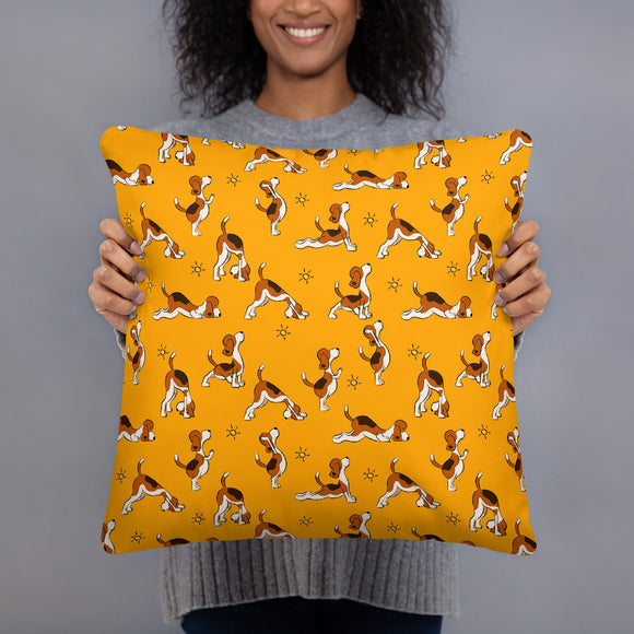 Yoga Dogs Orange Premium Pillow