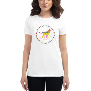 Life Is Colourful With Dogs, Women's short sleeve t-shirt, White