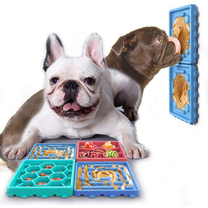 Dog Slow Feeder Licking Tray, Slow Eating Bowl, Pet Slow Treater Bowl
