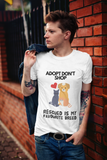 Adopt Don't Shop on Short-Sleeve Unisex T-Shirt, White