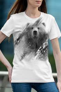 Bear Face Gray-scale Sublimated Polyester T-shirt