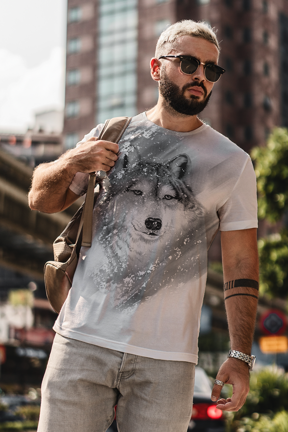 Wolf Face Gray-scale Sublimated Polyester T-shirt