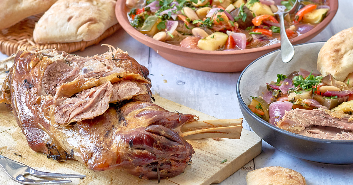Slow Roast Greek Style Shoulder of Lamb with Summer Stew