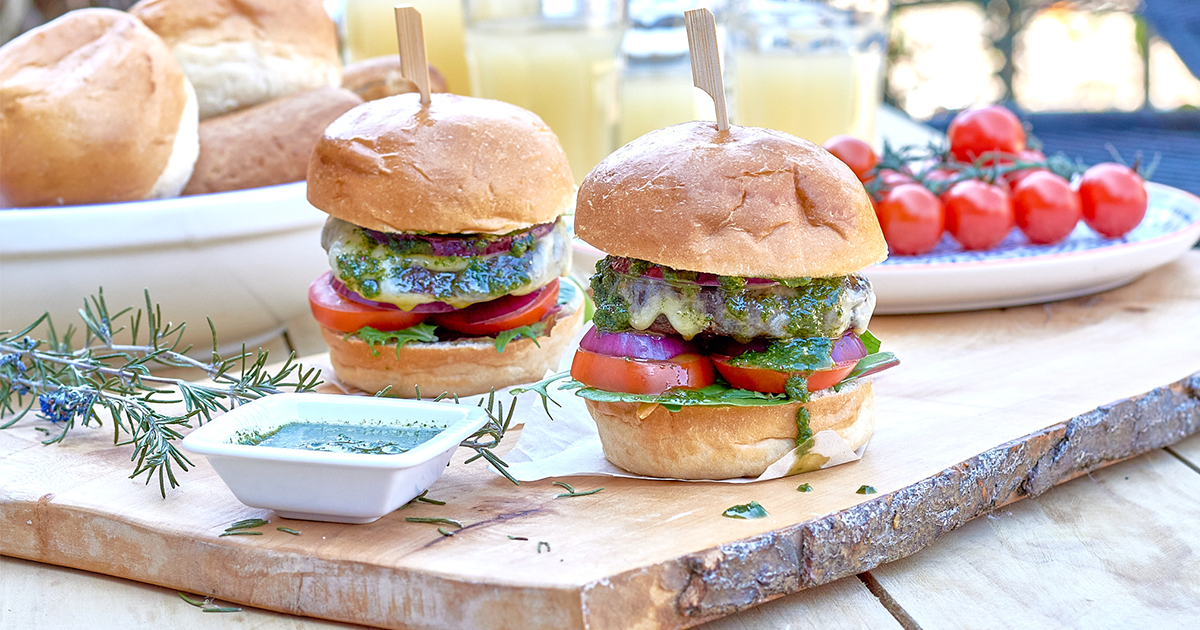 Lamb Burgers with Garlic and Rosemary and Pistou