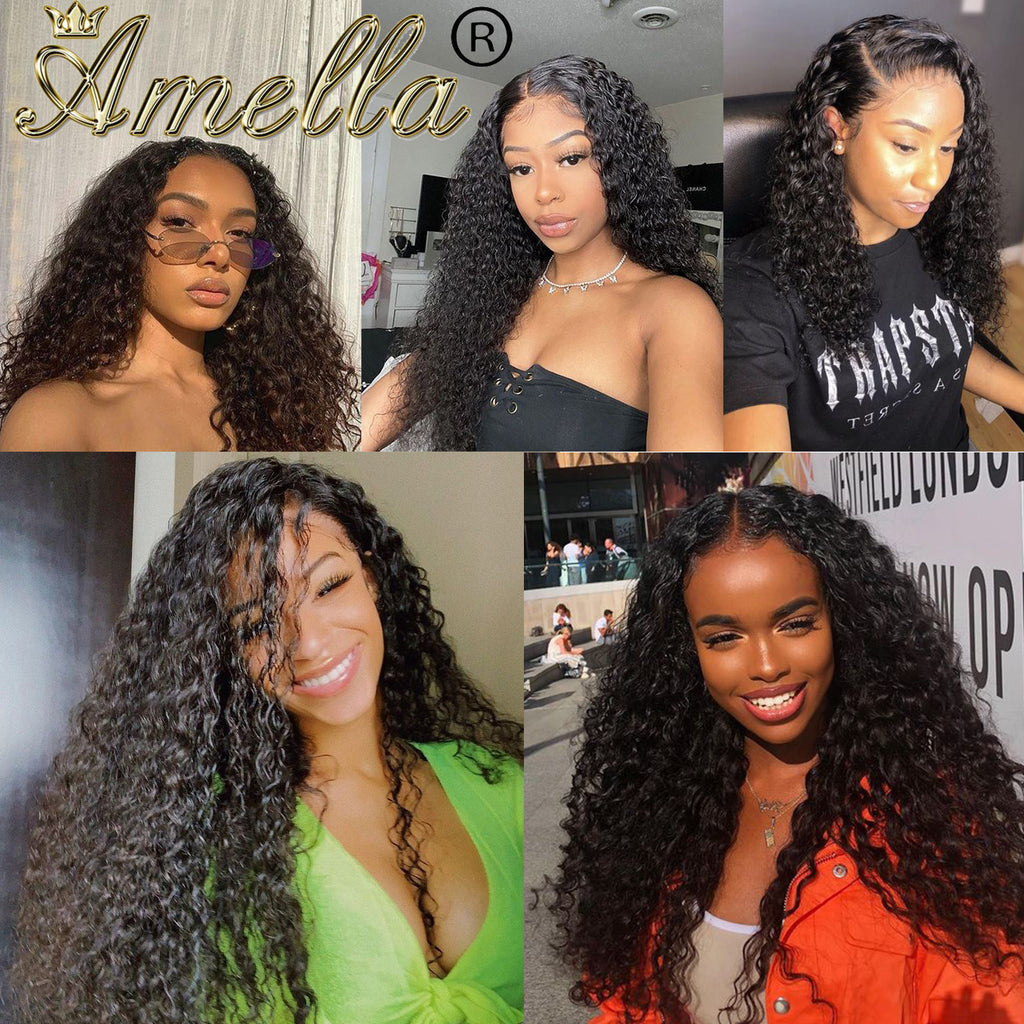 Amella Human Hair Wigs Breathable Jerry Curly 360 Lace Frontal Wig Pre Plucked Hairline - amellahair