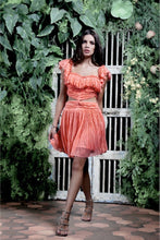 Load image into Gallery viewer, PEACH PLEATED CUT OUT SHORT DRESS