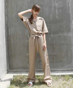 BELTED WORK WEAR JUMPSUIT