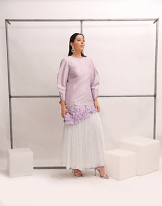 JAPANESE SHANTUNG STAR TULLE DRESS