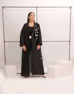 PEARL EMBELLISHED AND PLEATED BLACK ABAYA
