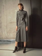 Load image into Gallery viewer, LONG SLEEVES LEATHER DRESS