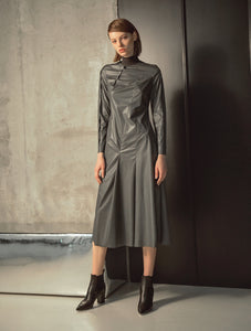 LONG SLEEVES LEATHER DRESS