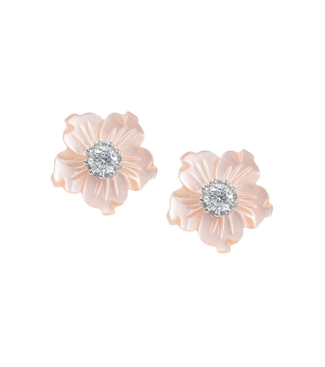 FLOWER PINK STUD EARRINGS