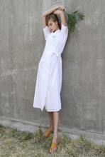 Load image into Gallery viewer, LINEN BELT WRAP DRESS