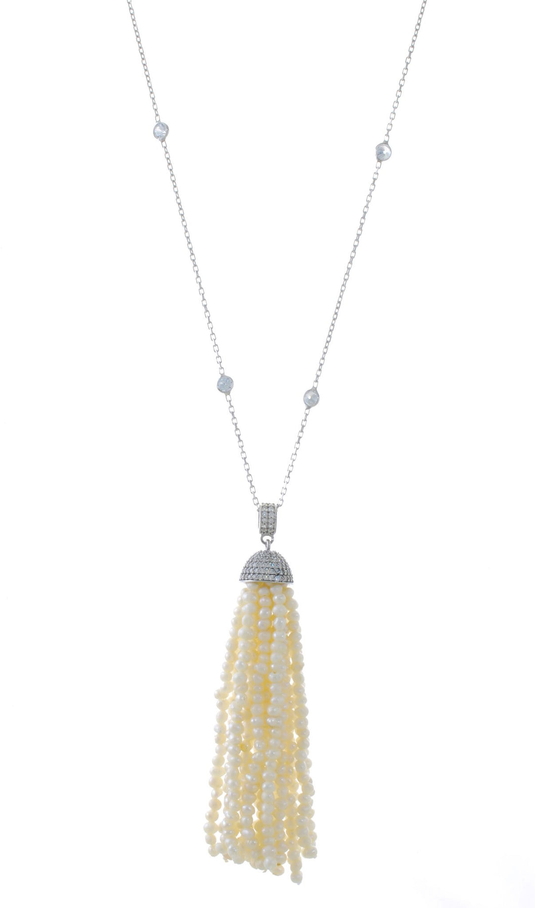 MEDIUM CUP TASSEL PEARL LONG NECKLACE
