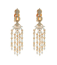 Load image into Gallery viewer, CLIP ON MARQUISE ENCRUSTED DANGLE EARRINGS