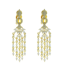 CLIP ON MARQUISE ENCRUSTED DANGLE EARRINGS