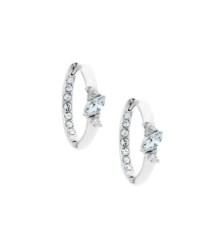 MARQUISE CUT WHITE ENAMEL HOOP EARRINGS