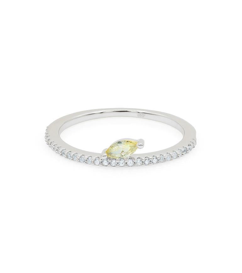 ROUND CZ WITH YELLOW STONE RING