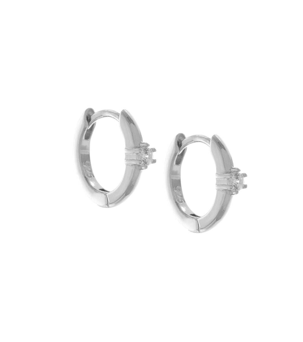 SOLITAIRE INLAY HOOP EARRINGS