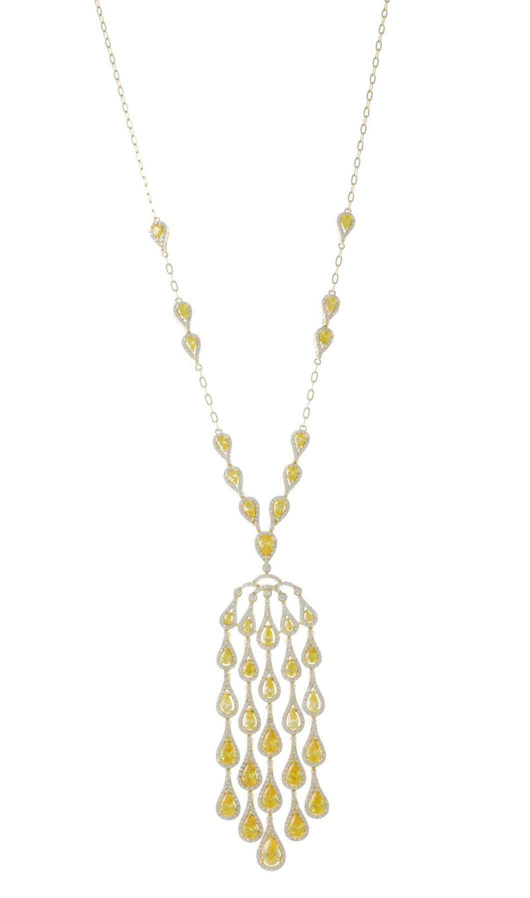 COLORED CHANDELIER LONG NECKLACE