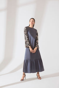 DRESS WITH PRINTED SLEEVES