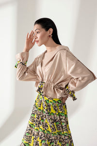 SATIN JACKET WITH PRINTED BELT