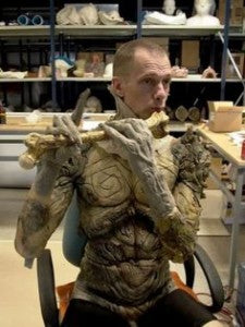 The costume was made mostly of latex rubber foam, and the ram horns were made of fiberglass horns. The makeup for actor Doug Jones took five hours each day.