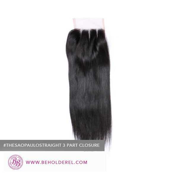 Brazilian Straight<br>Lace Closure (The Sao Paulo Straight Straight 3 Part Lace Closure)