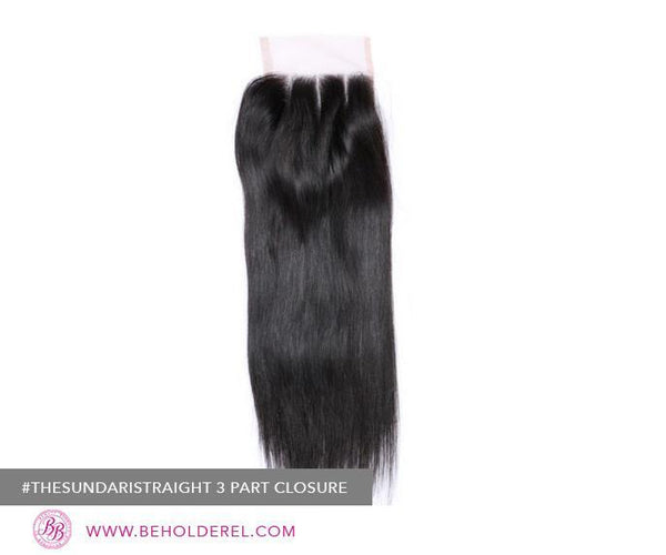 Indian Straight<br>Lace Closure (The Sundari Straight Straight 3 Part Lace Closure)