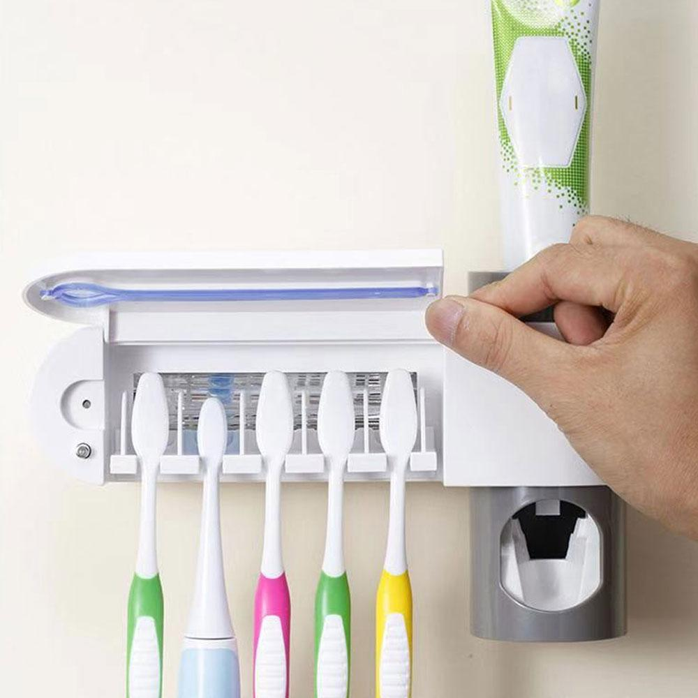UV Light Toothbrush Sterilizer 3 In1 Toothbrush Holder Cleaner Automatic Toothpaste Squeezers Punch-free for Oral Care uv pinkinblack.com