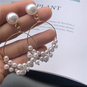 New Female Flower Long Pearl Tassel Dangle Drop Earrings Jewelry Fashion Woman Earrings 2019 Fine Jewelry Accessories Earrings