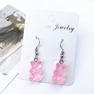 1 Pair Creative Cute Mini Gummy Bear Earring Minimalism Cartoon Design Female Ear Hooks Danglers Jewelry Gift Jelly Cool Popular