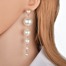 Load image into Gallery viewer, Europea and America Luxury Fashion Simple Imitation Pearl Long Dangle Earrings Size Pearl Tassel Drop Earrings for Women Jewelry