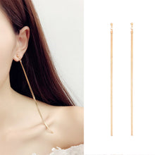 Load image into Gallery viewer, KISSWIFE Ms Elegant Simple Metal Thin Chain Temperament Korean Personality Fashion Long Tassel Pendant Earrings Wholesale