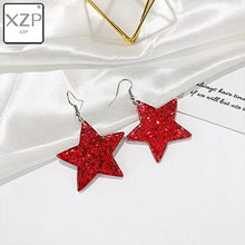 Load image into Gallery viewer, XZP Fashion Craft Glitter Hearth Star Drop Earrings Resin earring for Birthday Gift Child Girls Teens Jewelry