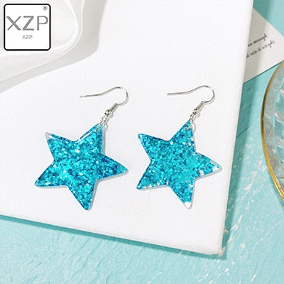 XZP Fashion Craft Glitter Hearth Star Drop Earrings Resin earring for Birthday Gift Child Girls Teens Jewelry