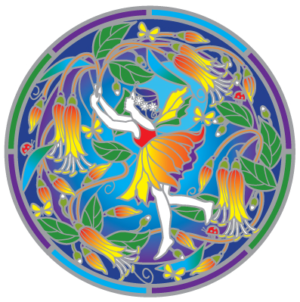 Bush flower fairy Mandala Sunseal sticker