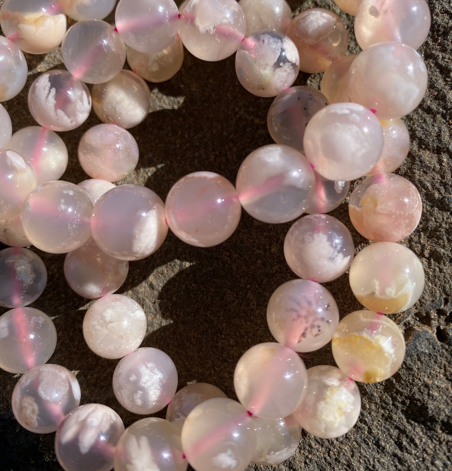 Flower agate 11mm bead bracelet.
