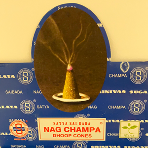 Nag Champa Dhoop incense cones.