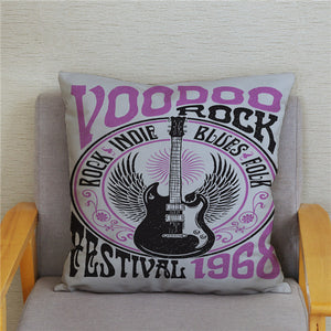 Cushion Covers - Rock Music Print - ManKave Gifts & Accessories