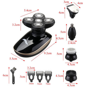 5 In 1  Rechargeable Bald Head Electric Shaver Wet & dry Use - ManKave Gifts & Accessories
