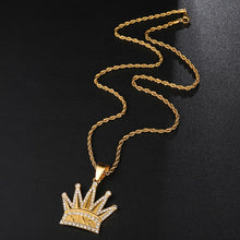 Load image into Gallery viewer, Bling Iced out Crown KING Mens Pendants Necklaces - ManKave Gifts & Accessories