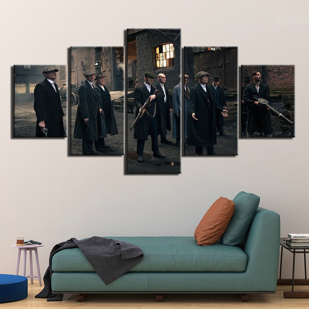 5 Panel Peaky Blinders Canvas Wall Art - Man-Kave