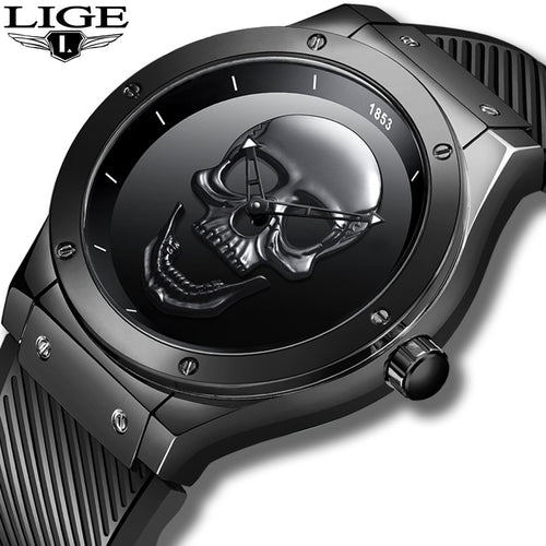 LIGE Mens Watch -  New Black Skull Watch - ManKave Gifts & Accessories