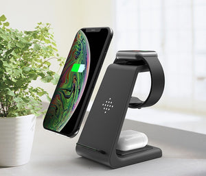 3 in1 Wireless Charger For iPhone 11/Xs AirPods Apple Watch - ManKave Gifts & Accessories
